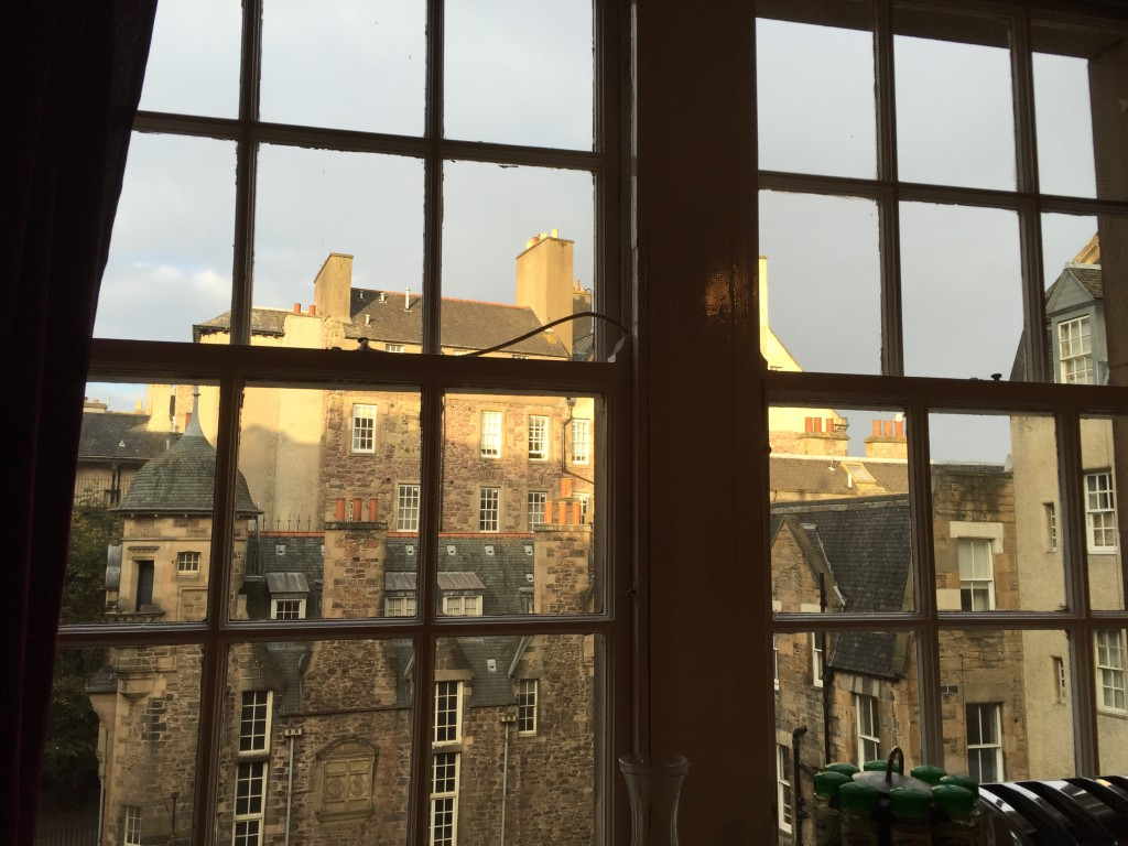 View from windows showing old buildings in Edinburgh, Scotland.