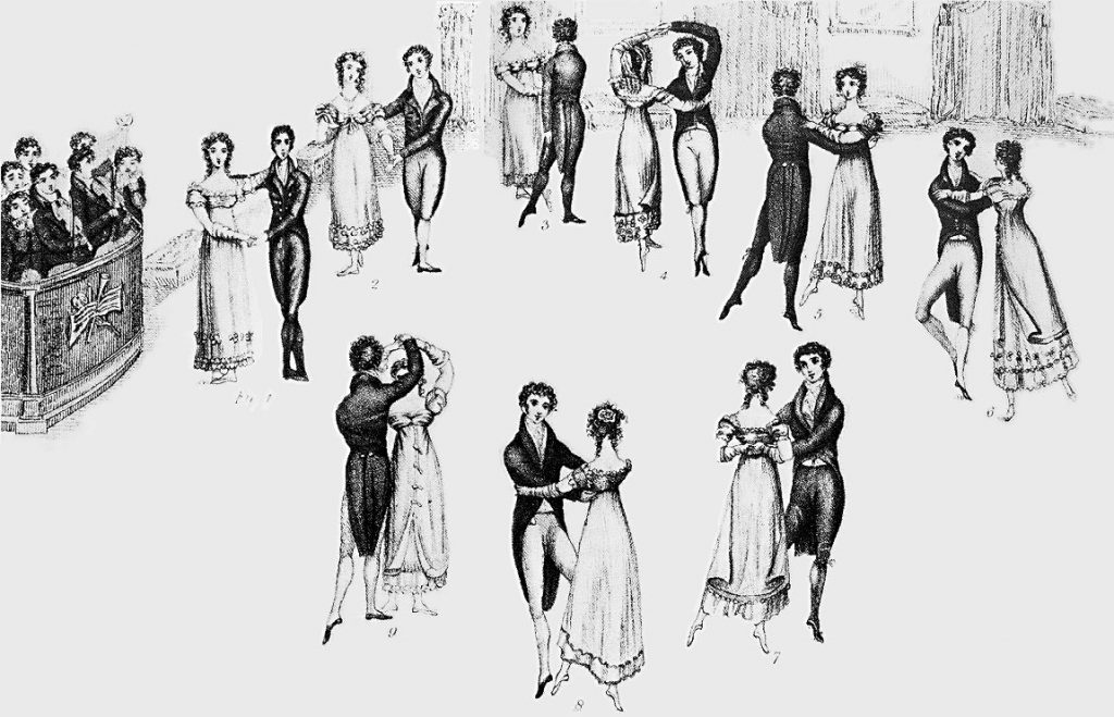Drawing of couples waltzing.