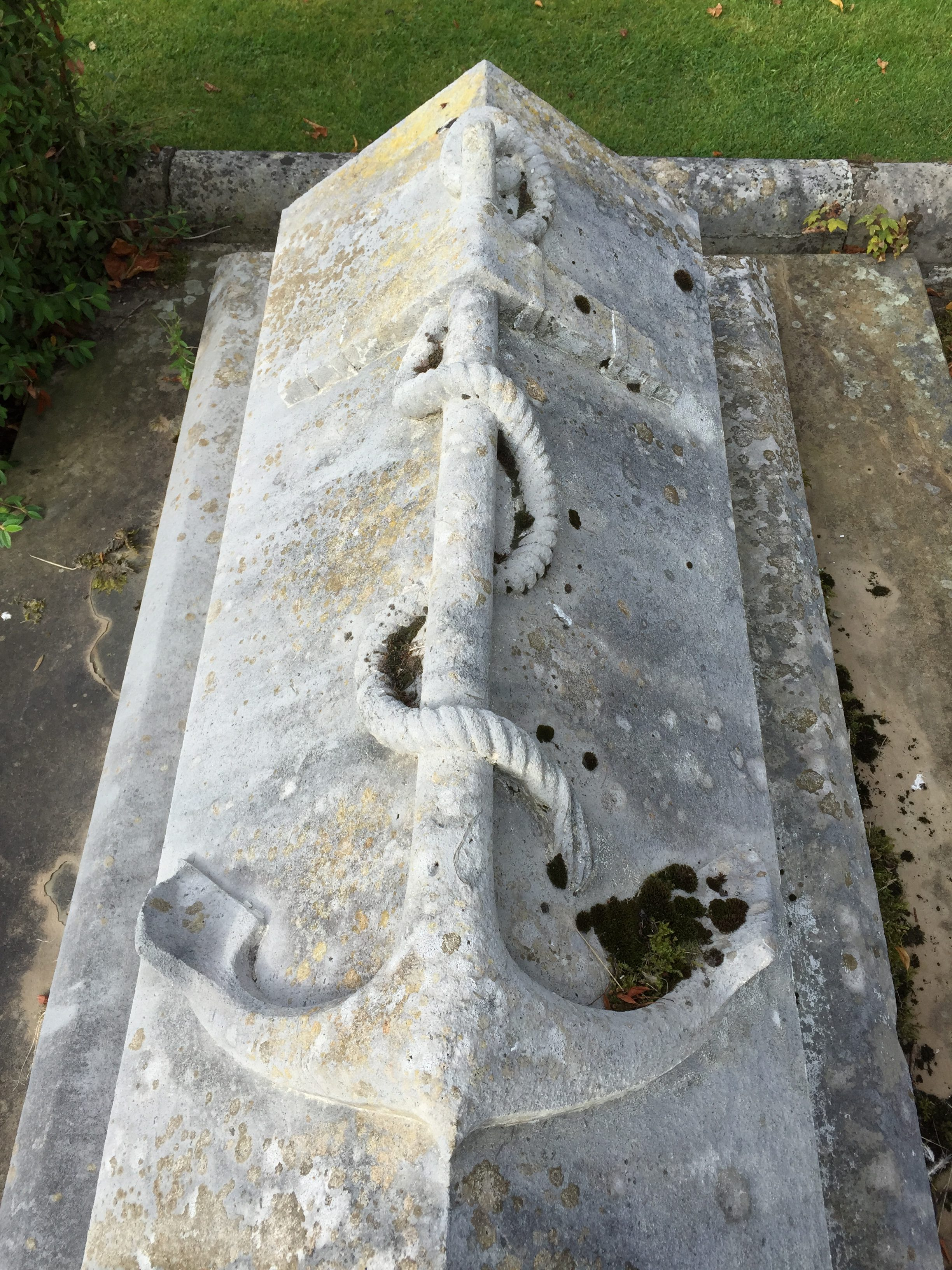 Tomb with a carved anchor at Dunfermline, Scotland