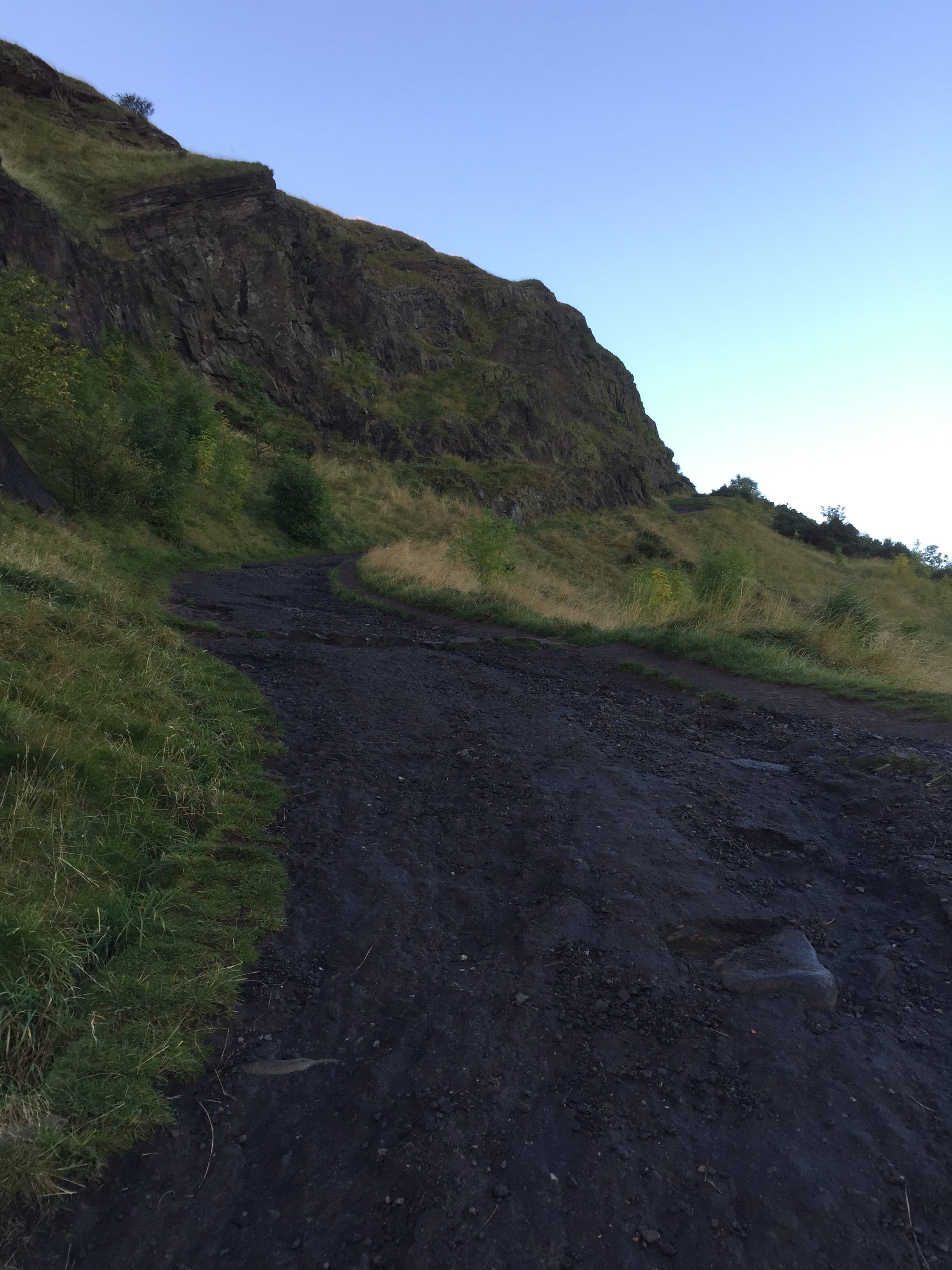 Hiking path to a hill called Arthur's Seat in Edinburgh, Scotland.