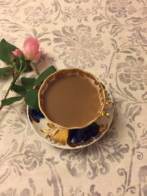 Blue and white porcelain teacup and saucer